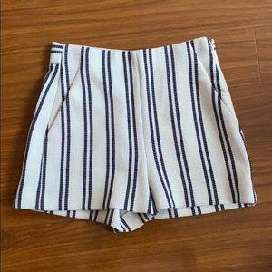 Zara Striped Beachy High Waisted Shorts